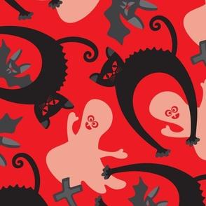 Spooky Halloween Black Cat Ghost Bat Gravestone Red Black White Grey - LARGE Scale - UnBlink Studio Jackie Tahara