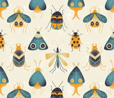 Retro Bugs, Beetles, and Moths - textured insects - medium / large scale