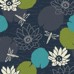 water lily dragonfly floral navy yyy scale