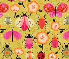 retro bugs and butterfly
