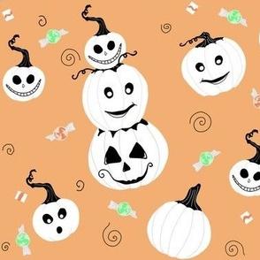 White Pumpkins On Pumpkin Orange