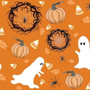 Halloween Ghosts And Skull Spiders