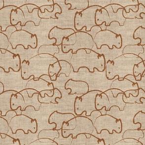 Wisdom of Wombats - Flax linen