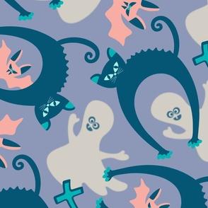 Spooky Halloween Black Cat Ghost Bat Gravestone in Pastels - LARGE Scale - UnBlink Studio Jackie Tahara