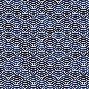 Rainbows Waves Indigo Blue Mini- Vintage Japanese Geometric Navy Blue- Sea- Nautical