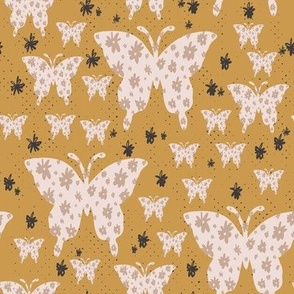 butterfly floral mustard