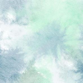 watercolor tie dye - blue/green