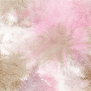 watercolor tie dye - pink/brown