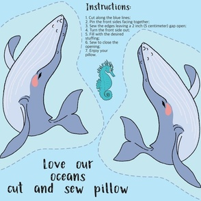 Blue Whale Cut and Sew Pillow