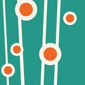 Berry Branch - Polka Dot Geometric - Retro Girl Aqua Orange Jumbo Scale