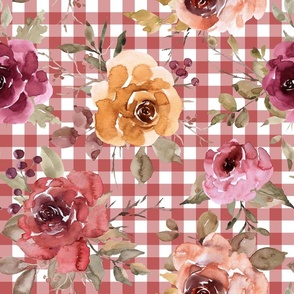 Rusty Pink Gingham Fall Floral Rotated - large scale