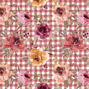 Rusty Pink Gingham Fall Floral