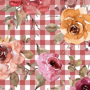 Rusty Pink Gingham Fall Floral - extra large scale