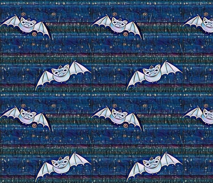 Pastel Bats on Blue Stripes