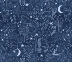 night time in the forest - denim blue - large