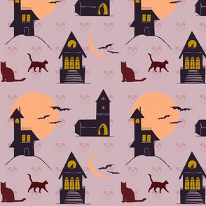 Haunted House Halloween Cats & Bats