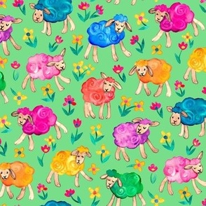 Rainbow Watercolor Sheep in Fields of Flowers - green, medium