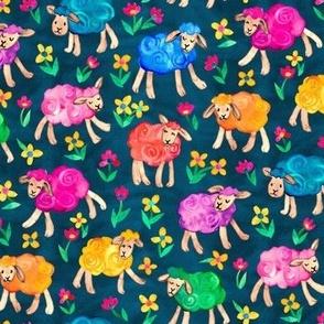 Rainbow Watercolor Sheep in Fields of Flowers - blue, medium