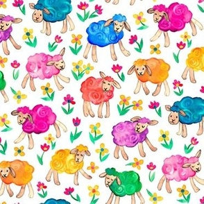 Rainbow Watercolor Sheep in Fields of Flowers - white, medium