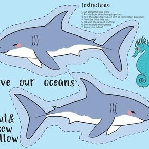 Shark Cut and Sew Pillow