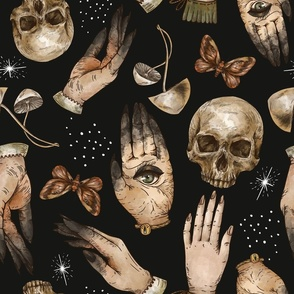 Witch hands and skull