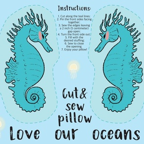 Sea Horse Cut and Sew Pillow
