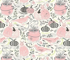 cats crows cauldrons pink