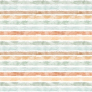 Watercolor 1in Stripes Mint-Jade-Sorbet-Bronze / neutral colors / horizontal lines