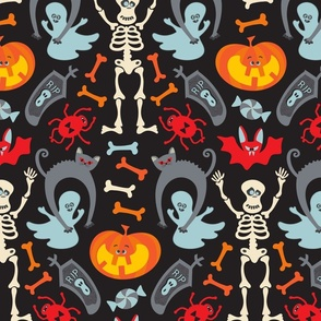 Happy Halloween Damask in Traditional Colours - SMALL Scale - UnBlink Studio by Jackie Tahara