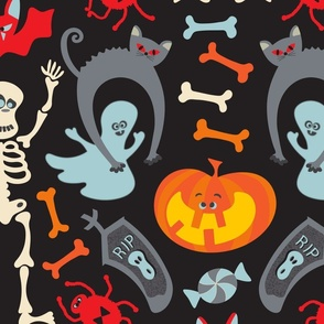 Happy Halloween Damask in Traditional Colours - LARGE Scale - UnBlink Studio by Jackie Tahara