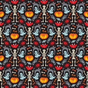 Happy Halloween Damask in Traditional Colours - TINY Scale - UnBlink Studio by Jackie Tahara