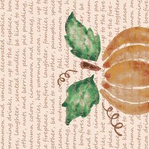 Pumpkin spice tea towel, autumn,fall themes, kitchen linen, sweet sentiments in typography.