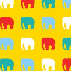 Multicoloured elephants on yellow