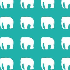 Elephants on teal