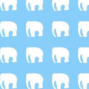 Elephants on blue