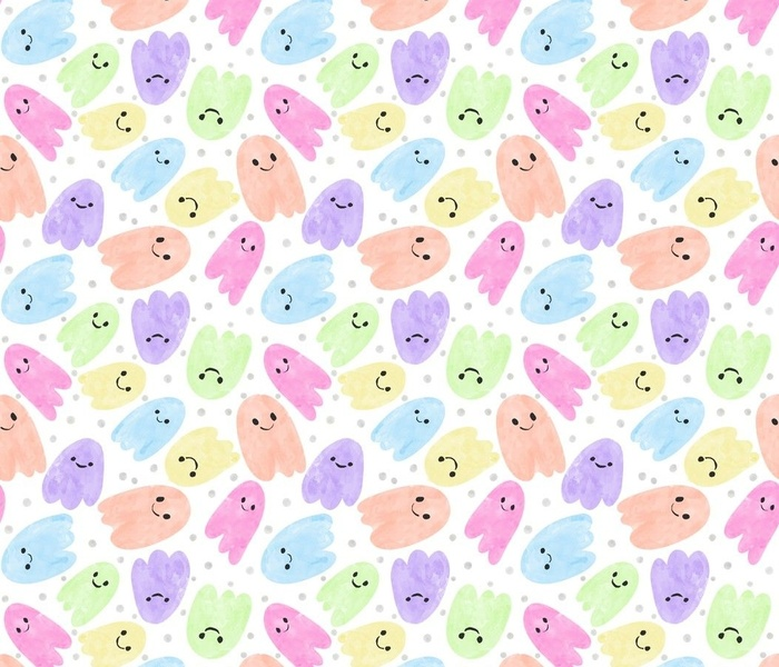 Cute Watercolor Rainbow Ghosts   Dots