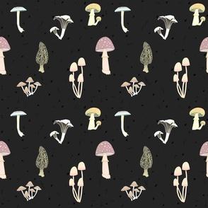 Magic Mushrooms Black and White