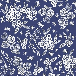 Flowers and Berries in Navy
