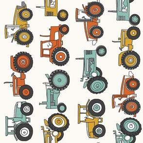 LARGE tractor fabric, tractors, vintage tractors  - neutral fabric, farm fabric, kids fabric - teal