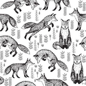 SMALL Foxes Fabric // Black and White Nursery baby design by Andrea Lauren