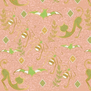 Halloween Garden Frolic Toile - Textured Soft Papaya-ch