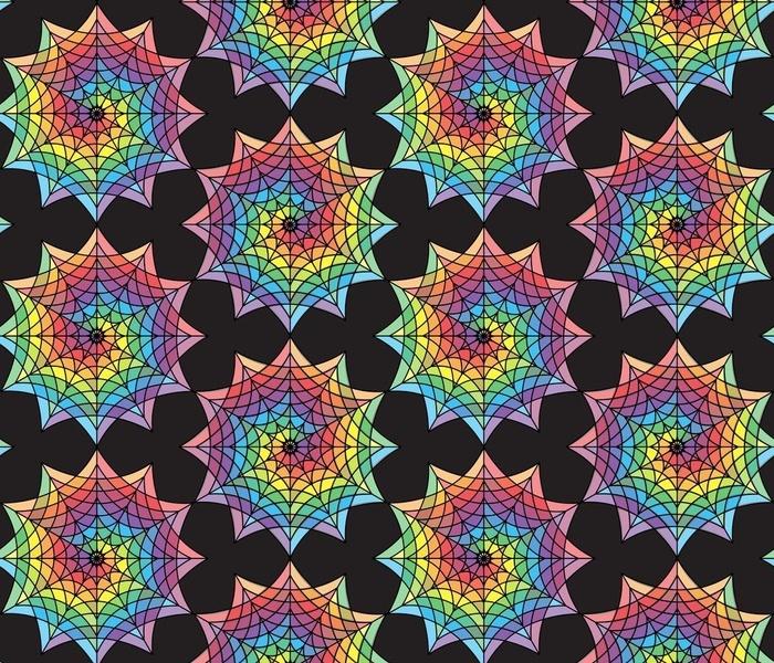 rainbow spiderwebs on black