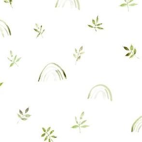 Khaki neutral boho rainbows and leaves for modern nursery a327-3-2