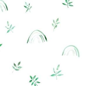 Jade green neutral boho rainbows and leaves for modern nursery a327-3-3