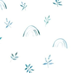 Blue and teal neutral boho rainbows and leaves for modern nursery a327-3-5