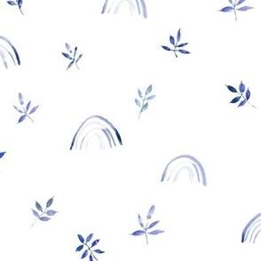 Indigo neutral boho rainbows and leaves for modern nursery a327-3-6