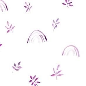Lilac neutral boho rainbows and leaves for modern nursery a327-3-7