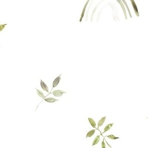 Khaki neutral boho rainbows and leaves for modern nursery a327-3-11