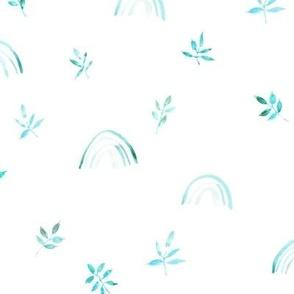 Emerald neutral boho rainbows and leaves for modern nursery a327
