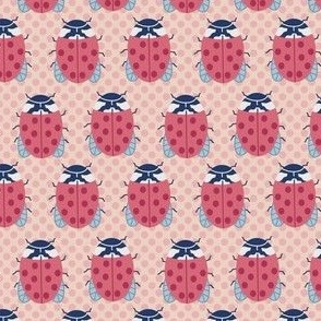 Small Ladybugs in Pink on polka dots
